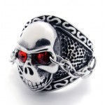 Skull with Red Rhinestone Titanium Ring 20944