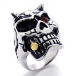Skull With Red Rhinestone Titanium Ring 20945