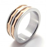 Coffee Gold Accent Titanium Ring 20809