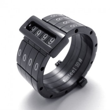 Black Puzzle Code Lovers Titanium Ring 20687