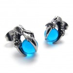 Claw Blue Gem Titanium Earrings 20472