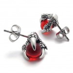 Claw Red Gem Titanium Earrings 20473