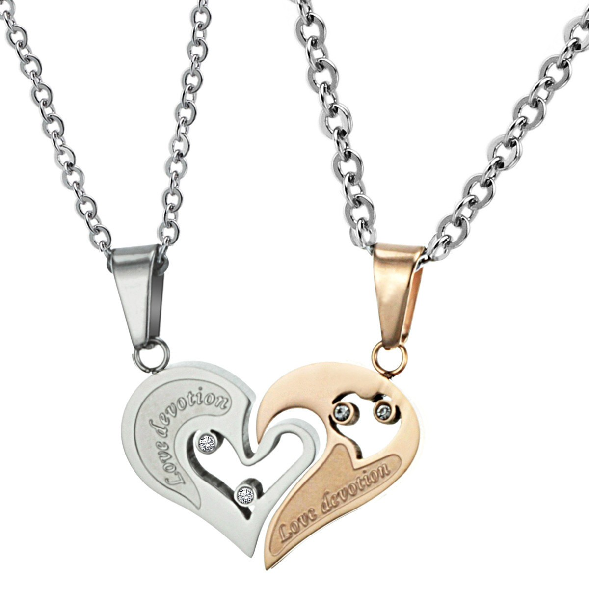 Titanium Rose Gold and Silver Sweetheart Lovers Pendants ...