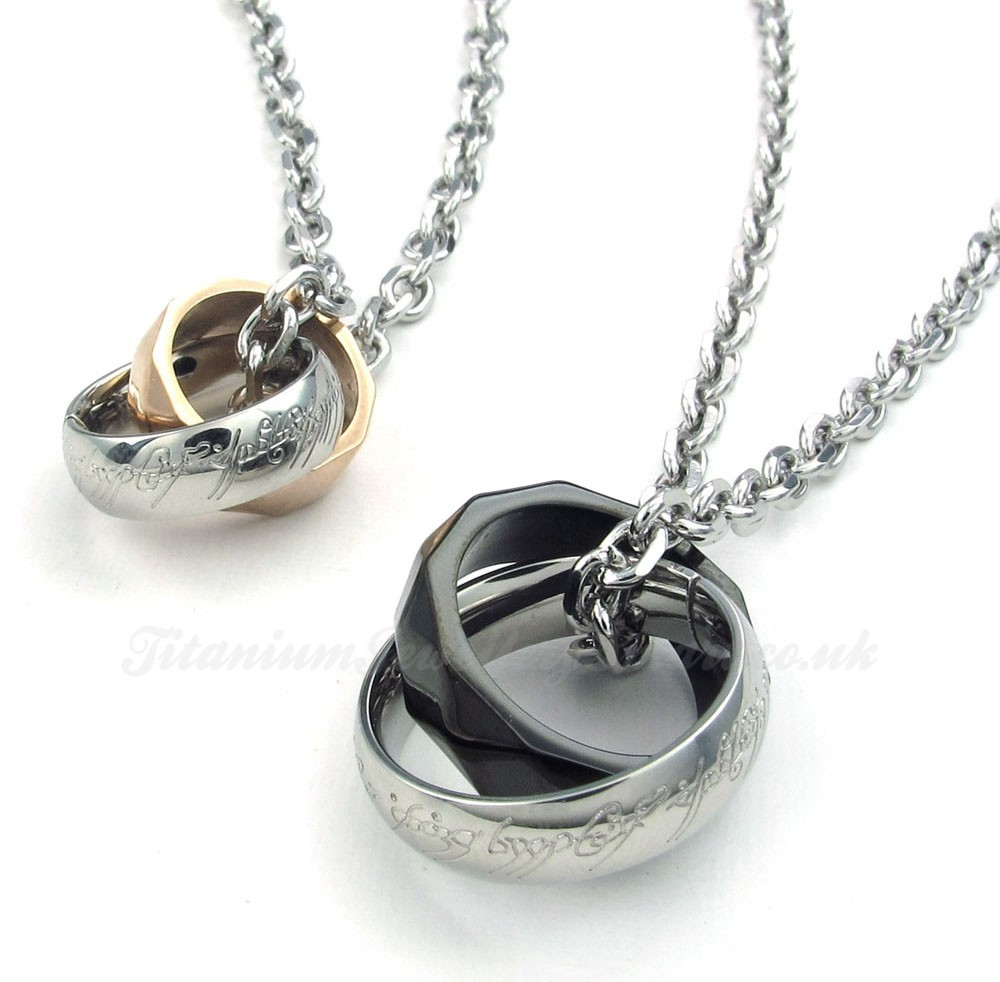 titanium interlocking rings pendant necklace free