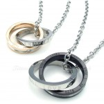 Titanium Interlocking Circles Couples Pendant Necklace (Free Chain)(One Pair)