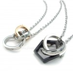 Titanium Couples Interlocking Circles Hearts Pendant Necklace (Free Chain)(One Pair)