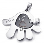 Titanium Couples Hand Hearts Pendant Necklace (Free Chain)(One Pair)