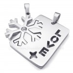 Silver Titanium Couples Snowflake Pendant Necklace (Free Chain)(One Pair)