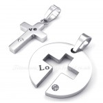 Titanium Silver Cross Couples Pendant Necklace (Free Chain)(One Pair)
