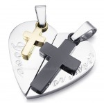 Titanium Double Cross Hearts Shaped Couples Pendant Necklace (Free Chain)(One Pair)