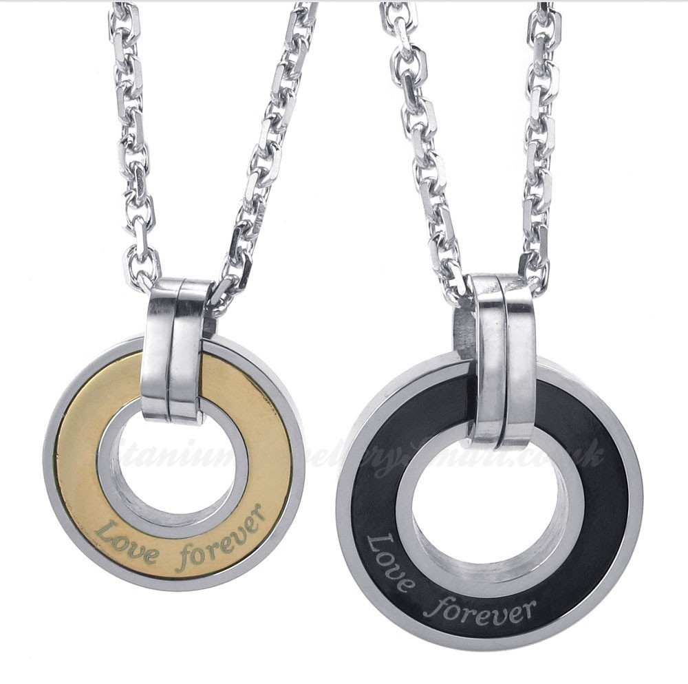 titanium circles couples pendant necklace free chain one