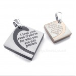 Titanium Square Couples Pendant Necklace (Free Chain)(One Pair)