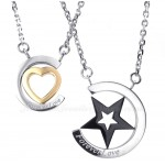Titanium Sart And Hearts Couples Pendant Necklace (Free Chain)(One Pair)