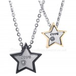 Titanium Five-pointed Star Couples Pendant Necklace (Free Chain)(One Pair)