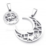 Titanium Silver Moon And Stars Couples Pendant Necklace (Free Chain)(One Pair)