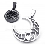 Titanium Moon And Stars Couples Pendant Necklace (Free Chain)(One Pair)