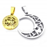Titanium Gold Moon And Stars Couples Pendant Necklace (Free Chain)(One Pair)