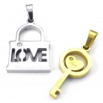 Titanium Gold Key Couples Pendant Necklace (Free Chain)(One Pair)