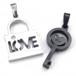 Titanium Black Key Couples Pendant Necklace (Free Chain)(One Pair)