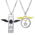 Fashion Titanium Wings Hearts Couples Pendant Necklace (Free Chain)(One Pair)
