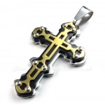 Titanium Gold Black Cross Pendant Necklace (Free Chain)
