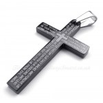 Scripture Titanium Black Cross Pendant Necklace (Free Chain)