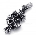 Titanium Skull Cross Pendant Necklace (Free Chain)