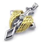 Gold Angel Wings Titanium Cross Pendant Necklace (Free Chain)