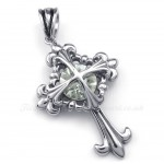 White Zircon Titanium Flower Cross Pendant Necklace (Free Chain)