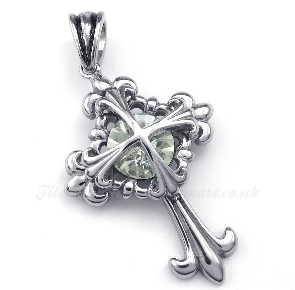 white zircon titanium flower cross pendant necklace free