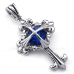 Blue Zircon Titanium Flower Cross Pendant Necklace (Free Chain)