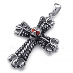 Titanium Cross Pendant Necklace Adorned With Skull (Free Chain)