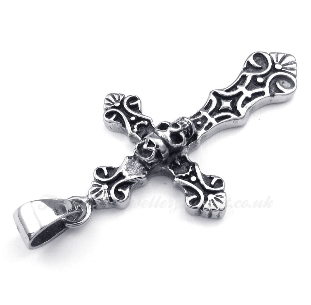 skull titanium cross pendant necklace free chain 163 86