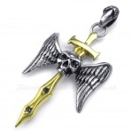 Gold Sword Titanium Skull Cross Pendant Necklace (Free Chain)