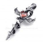 Red Zircon Sword Wings Titanium Cross Pendant Necklace (Free Chain)