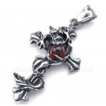 Dragon Red Bead Titanium Cross Pendant Necklace (Free Chain)