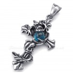 Dragon Blue Bead Titanium Cross Pendant Necklace (Free Chain)