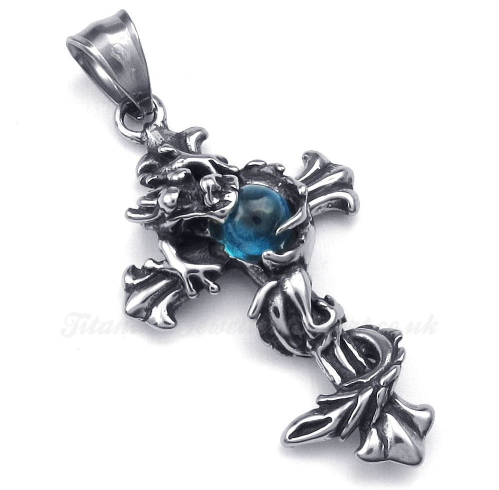 blue bead titanium cross pendant necklace free