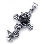 Dragon Black Bead Titanium Cross Pendant Necklace (Free Chain)