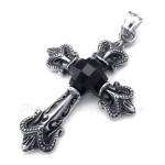 Black Zircon Cross Titanium Pendant Necklace (Free Chain)