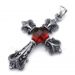 Titanium Red Zircon Cross Pendant Necklace (Free Chain)