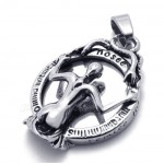 Skull Titanium Pendant Necklace With A Inverted image (Free Chain)