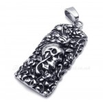 Rose Skull Cards Shaped Titanium Pendant Necklace (Free Chain)