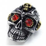 Red Eyes Titanium Skull Pendant Necklace (Free Chain)