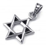 Titanium Lucky Star Of David Pendant Necklace (Free Chain)