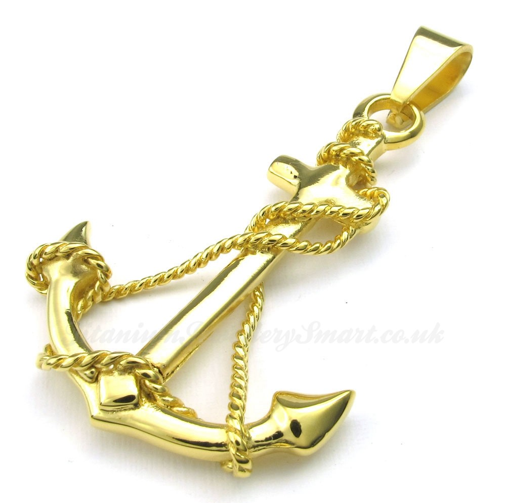 Titanium gold anchor pendant necklace free chain 75 titanium titanium gold anchor pendant necklace free chain aloadofball Choice Image