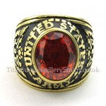 Gold Titanium Ring with Red Zircon