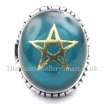 Gold Five-pointed Star Titanium Blue Ring