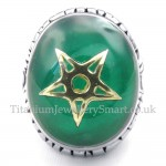 Gold Five-pointed Star Titanium Green Ring