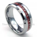 Silver Red Tungsten Carbon Fiber Rings